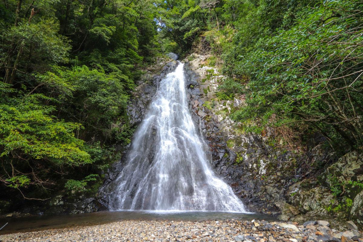 道路から眺める八瀬尾の滝